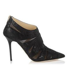 790fe9236aca Black Textured Snake Print Suede and Mesh Pointy Toe Booties Jimmy Choo  Shoes