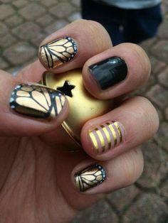 déco ongles originale, manucure en noir et doré