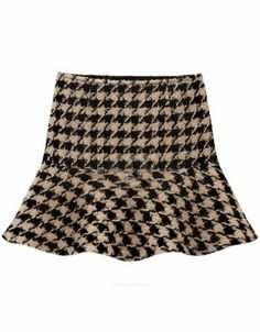 Khaki Vintage Houndstooth Ruffle Skirt pictures