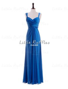 Cobalt Blue Chiffon Dress,Long Dark Blue Prom Dress,Cobalt Bridal Party Dress,Evening Dress,Long Blue Bridesmaid Dress,Formal Dress(BB1354)