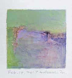 "Feb. 14, 2017 9 cm x 9 cm (app. 4"" x 4"") oil on canvas  © 2017 Hiroshi Matsumoto"