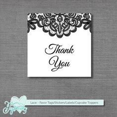 INSTANT DOWNLOAD! Black and White Lace - Favor Tags, Thank You Tags, Stickers, Labels or Cupcake Toppers by Joytations on ESY. Print at home or at a local print shop! The colors can be changed for a small additional fee. Visit my ETSY shop for details.