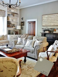 LOVE this gray-Sherwin-Williams paint color Mindful Gray (SW 7016) perfectly complements the furniture and accessories in KariAnne's Family Room. #home #decor