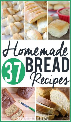 "37 Homemade Bread Recipes to try. Whether you're looking for a basic sandwich bread recipe, a healthier take on an old favorite, or a more ""dressed up"" bread to take to a gathering, you're bound to find a few useful bread recipes on this list!"