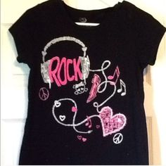 Black Justice Tee Girls black and hot pink tee. Justice Shirts & Tops Tees - Short Sleeve