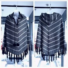 LAST DAY 1/22 BCBG poncho brand new Only 3 left! Grab it while I still have it! These ponchos are being discontinued 1/22, only a few days left to add this beauty to your wardrobe! Ask me to make u a personal listing!!!!  This gorgeous hooded fringed poncho with pom pom ties from BCBG, will make a fabulous addition to any wardrobe. Perfect for cooler fall and winter weather. Colors are black and grey with gold threading weaved throughout to give this poncho a little sparkle!   96% acrylic 2%…