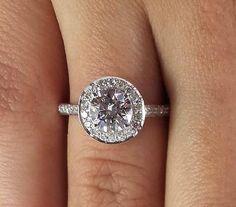 2.02 ct Round Cut Diamond Engagement Ring VS2/D 14K White Gold 261018