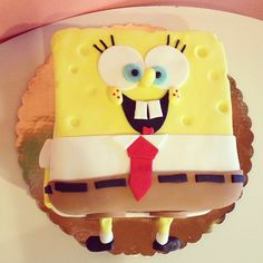 Fondant Sponge Bob Birthday Cake by 2tarts Bakery  New Braunfels, TX  www.2tarts.com