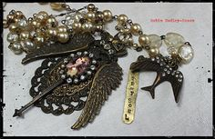 Gypsy Soul necklace pearls, rhinestones and antique gold eclectic mixed media by shadesofakasha on Etsy