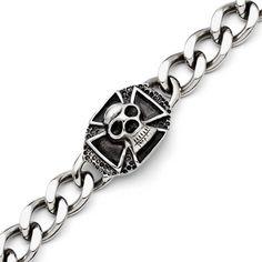 Stainless Steel Polished Skull Bracelet - 9 Inch, Women's