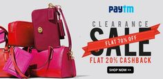 #Paytm clearance sale on top branded women's #handbags with upto 70% OFF + Extra 20% cashback. Hurry Up!