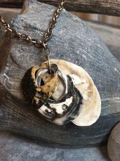 SALE Boho gypsy beach oyster seashell necklace, beachy jewelry, beach wedding jewelry, seashell jewelry