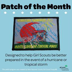 """As Girl Scouts, we are always prepared! Which is why we're excited to introduce our first """"Patch of the Month"""": Hurricane Awareness. This patch, open to Brownies through Ambassadors, is designed to reach troops how to prepare for a hurricane or tropical storm. There are a ton of cool ways to earn this council patch including talking to a meteorologist to tracking a real storm to making a family first aid kit. The possibilities are endless! Learn more about this patch including activities and…"""
