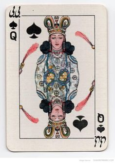 Iranian Playing Cards, Queen    Specially manufactured Playing Cards for the Iranian monopoly by Thos. De La Rue & CO Ltd. London. Designed by V. Romanowski de Boncza. Circa 1930s.