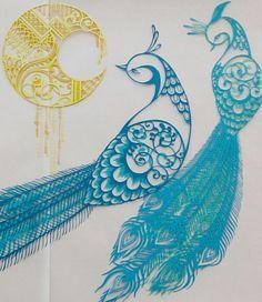 切り絵「花鳥風月」孔雀2 コトコト切り絵中