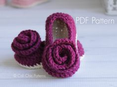 PDF PATTERN of how to make Charlotte Baby Shoes. NOT PHYSICAL SHOES FOR SALE.  ♥ Crochet pattern for the elegant and girly Charlotte Baby Shoes, with rose accent. They will be a welcome baby shower gift for new moms, or a keepsake within the family.  ♥ Pattern provided includes instructions for sizes 0 - 6 months and 6 - 12 months. ♥ Use any DK weight yarn.  ♥ This pattern is written in standard US TERMS and includes many helpful photos.  ♥ Skill level - Easy to Intermediate…