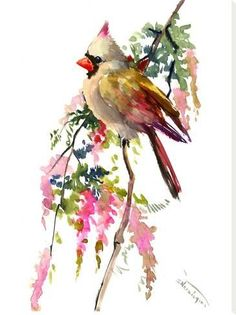 Red Cardinal Bird Artwork, Original one of a kind watercolor painting, cardinal birds, northern cardinal, birds of USA by ORIGINALONLY on Etsy Watercolor Bird, Watercolor Animals, Watercolor Illustration, Watercolor Paintings, Watercolors, Bird Artwork, Cardinal Birds, All Nature, Bird Drawings