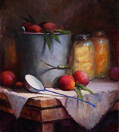 Fresh Peaches by Kathy Tate Oil ~ 18.5 x 16