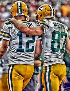 Green Bay Packers Painting - Aaron Rodgers Jordy Nelson Green Bay Packers Art by Joe Hamilton