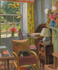 I can't find an exact source for this Duncan Grant painting but the chair is a 'Famulus' chair made by P E Gane Ltd of Bristol c. It is still in the house at Charleston. From Bettina's Impressions: Vanessa Bell Vanessa Bell, Virginia Woolf, Illustrations, Illustration Art, Dora Carrington, Duncan Grant, Bloomsbury Group, Painting & Drawing, Drawing Room