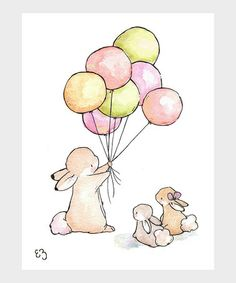 Take a look at this Vintage Balloons for Bunnies Print by LoxlyHollow on #zulily today!