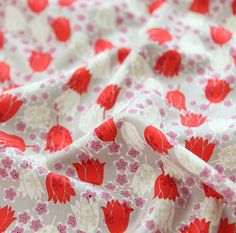 Vivid Red Tulip Pattern Cotton Fabric by Yard by luckyshop0228, $13.00