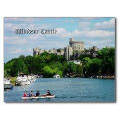 Windsor Castle from the Thames postcard. Some tourists are trying one of the common pastimes in WIndsor - messing about on the water :) WIndsor Castle makes an immediately recognizable backdrop to the whole scene.