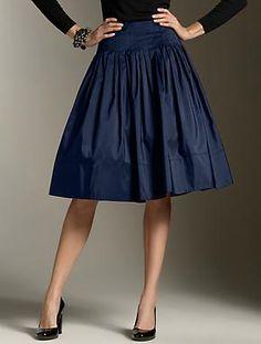 Talbots Navy Silk Taffeta Skirt