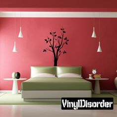 Tree with leaves and branches Wall Decal - Vinyl Decal - Car Decal - BA005