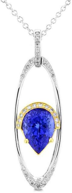 La Vita Vital 18K White/Yellow Gold Pear Tanzanite 3.54cts, Paraiba 0.26cts and Diamond 0.24cts Pendant/Necklace (SI1-VS, G-H)