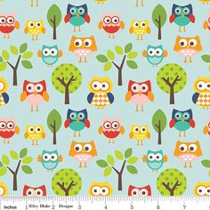 Half Price Sale 1 Yard Lazy Days Fabric Owls by 44thStreetFabric