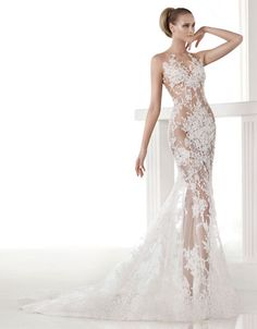 Brands | Wedding Gowns | Caraola Sheer Lace Mermaid Gown | Hudson's Bay