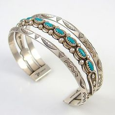 Vintage Bell Trading Post Shop Stamped Sterling Turquoise Cuff Bracelet PS BT | eBay