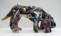 Dog Sculpture Made from Recycled Toys Recycled Toys, Recycled Art, Recycled Materials, Repurposed, Instalation Art, Trash Art, Dog Sculpture, Metal Sculptures, Animal Sculptures
