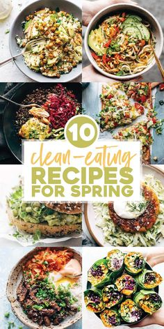 10 Clean Eating Recipes For a Happy Spring - Pinch of Yum - - Time to dive headfirst into all the color and the texture and the flavor! These clean eating recipes are my recommendations for a happy spring. Clean Eating Vegetarian, Clean Eating Dinner, Clean Eating Recipes, Clean Eating Snacks, Healthy Eating, Eating Habits, Healthy Spring Recipes, Healthy Dinner Recipes, Vegetarian Recipes
