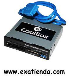 Ya disponible Lector oem int. negro USB 3.0 USB 3.0   (por sólo 14.95 € IVA incluído):   - Multilector de tarjetas CoolBox CR-430 - Cardreaders para integración con conexión frontal USB 3.0  - Tipo:  Lector interno con led indicador - Card Slots: 6 (SD+ Micro SD + CF + xD+ MS + M2)+ USB3.0 Ports x 1 - Tipos Flash soportados - Hasta 38 tipos incluyendo CompactFlash (CF)(tipos I y II), CF Ultra (tipos I y II), CF Extreme y Extreme III, MicroDrive, Secure Digital (SD), SDH