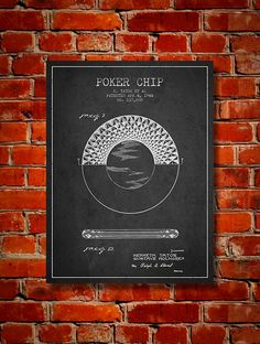 1944 Poker Chip Patent Canvas Print Wall Art by PatentsWallArt