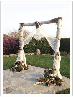 Rustic country wedding arch..