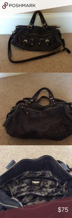 Junior Drake Handbag Plum Junior Drake leather handbag.  Beautiful hardware.  Comes with a long strap to wear it as cross body too. Junior Drake Bags Satchels
