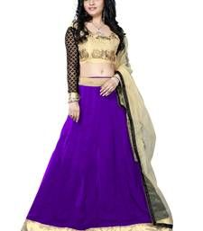 Buy Purple embroidered georgette unstitched lehenga choli lehenga-choli online