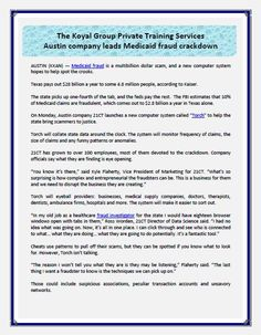 The Koyal Group Private Training Services: Austin company leads Medicaid fraud crackdown