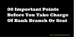 charge of bank branch