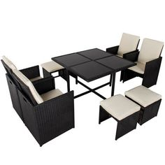 Toucan Outdoor 9 Pc Modern IndoorOutdoor All Weather PE Wicker Rattan Table Patio Set Gardern Furniture Dining Sets