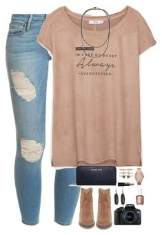 you are enough. by kaley-ii ❤ liked on Polyvore featuring Frame Denim, MANGO, Steve Madden, Brunello Cucinelli, MICHAEL Michael Kors, Accessorize, FOSSIL, Kendra Scott, NARS Cosmetics and Canon