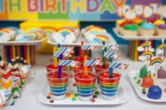 Layered jello at a rainbow birthday party! See more party planning ideas at CatchMyParty.com!