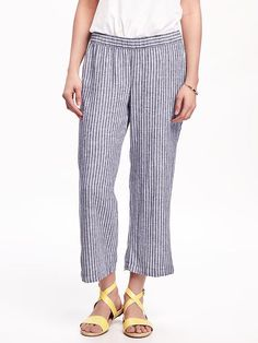 Mid-Rise Linen-Blend Cropped Wide-Leg Pants for Women