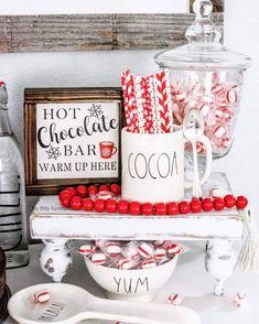 Hot Cocoa bar with Rae Dunn Hot Chocolate Coffee, Christmas Hot Chocolate, Hot Chocolate Bars, Christmas Kitchen, Rustic Christmas, Christmas Home, Christmas Ideas, Xmas, Merry Christmas