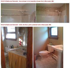 Bathroom Remodel - Pedestal sink, mosaic tile, new toilet. New Toilet, Pedestal Sink, Bathroom Remodeling, Mosaic Tiles, Tile Floor, Core, Flooring, Shower, Home Decor