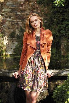 orange jackets and floral print dress #dresses #jackets #coats