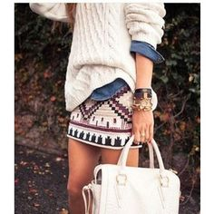 how to wear embroidered aztec sequin skirt - Google Search